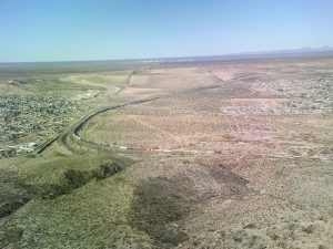 The start of the border fence between the United States and Mexico