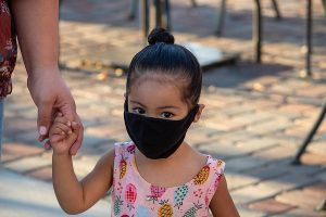 Child in facemask