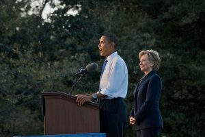 Former-President Obama and Hillary Clinton